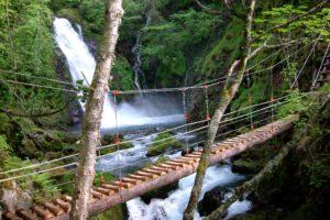 五色ヶ原 横手滝と吊橋
